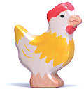 Holztiger Huhn, stehend, gelb 80018