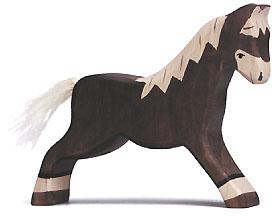 Holztiger Pferd, laufend, dunkelbraun 80034